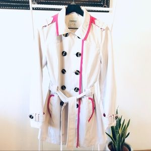 Esprit double breast trench coat lined in hot pink